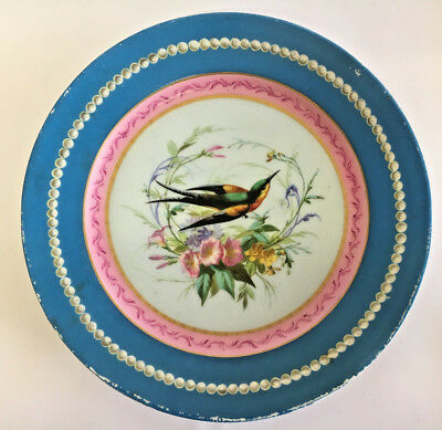 Antique Hand Painted Plate Hummingbird Design • 17.50£