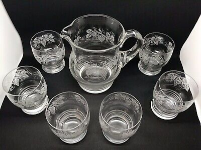 Super Set Of 6 Vintage Glass Tumblers And Matching Jug • 30£