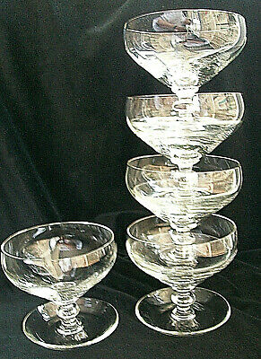 Sundae Dishes. Hand Made .Wrythen Bowls.Five. Lead Crystal Glass.Stacking. • 24£
