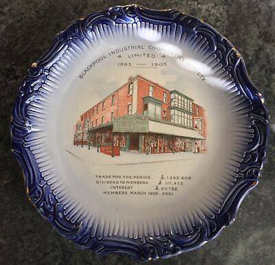 Antique BLACKPOOL INDUSTRIAL CO-OP SOCIETY Commemorative Plate 1885-1906 • 50£