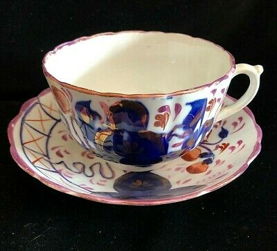 Welsh Gaudy Large Breakfast Cup & Saucer Lustre • 50£