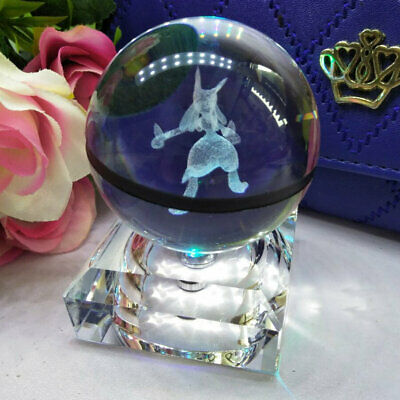 Xmas Birthday Gift Lucario Crystal Ball  3D Crystal Night Light  Lamp Kid Toy • 17.99£
