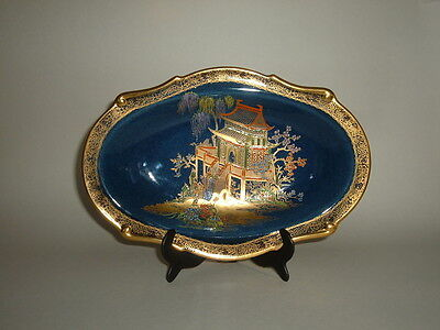Vintage Carlton Ware Blue Chinoiserie 'mikado' Hand Painted Dish No. 2078/2 • 39£