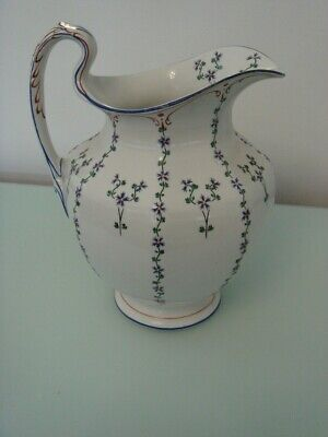 Booths Silicon China Large Antique Jug / Pitcher. Blue Flower Pattern. 11.5  VGC • 75£