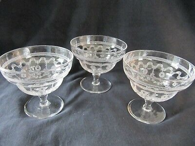3 Vintage Pall Mall Glass Sundae Dishes - Etched With Scrolls And Swags • 15.50£