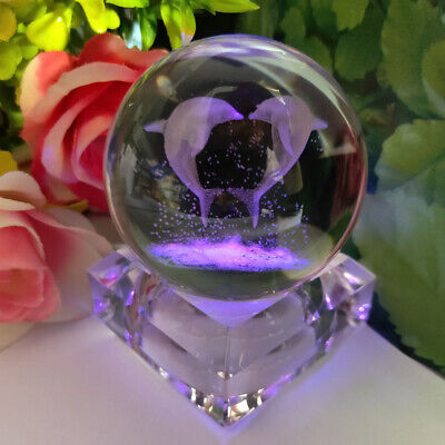 Dolphin Crystal Ball 3D Crystal Night Light Birthday Table Lamp Crafts Gift  • 17.99£