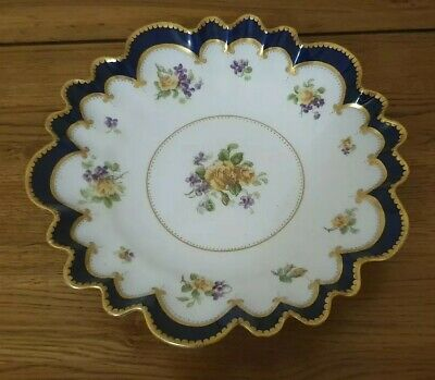 RARE GEORGE JONES CRESCENT CHINA - *FLUTED COBALT BLUE FLOWER DISH* - Beautiful. • 45£