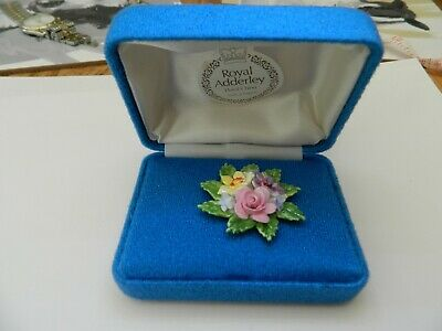Very Nice Collectable Royal Adderley Floral China Ladies Brooch Boxed • 15£