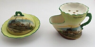 Vintage Gemma Ware, Tonypandy (Wales) Round Bowl With Lid & Shaving Cup • 9.99£