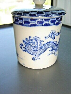 Hancock & Sons Caronaware Dragon Blue & White Mustard Pot • 1.99£