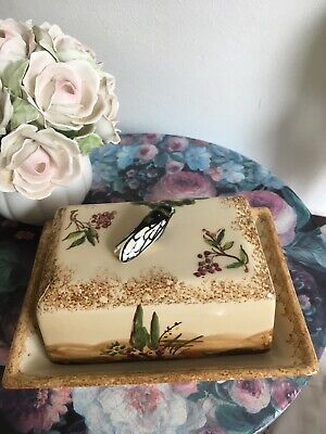 Quimper France  Butter Dish With Lid Cicada Handle Insect Handpainted Rare • 95£