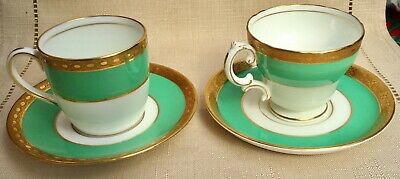Two Lovely Vintage Cauldon China Emerald Green And Gold Cups And Saucers • 8£
