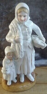 Antique? Vintage Figurine, Mother/daughter, White Glazed/gold Detail 7.5  Tall • 7£