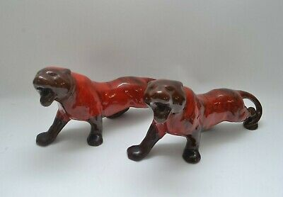 Pair Of  Vintage Evangeline Pottery Panthers Red Glaze • 30£