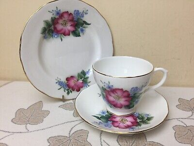 Duchess Bone China Pink Floral Tea Trio Cup Saucer & Side Plate Superb • 9.99£