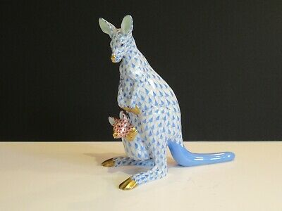 Herend Porcelain Hand Painted 'kangaroo With Joey' Blue Fishnet Pattern - Vgc • 245£