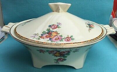 Lovely Art Deco Crown Ducal Floral Tureen • 10£
