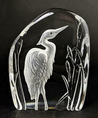 WEDGWOOD CRYSTAL GLASS HERON PAPERWEIGHT C1990's • 24.99£
