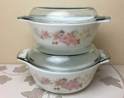 Boots Hedge Rose Large & Medium Pyrex Lidded Casserole Dishes Corning Ltd Superb • 34.99£