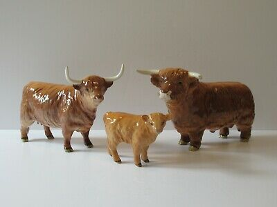 Vintage Beswick Highland Cattle Trio Inc. Bull 2008 - Cow 1740 - Calf 1827d  • 325£