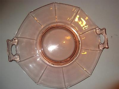 Imperial Pink Depression Glass Molly 2 Handled Cake Plate Excellent • 16.11£