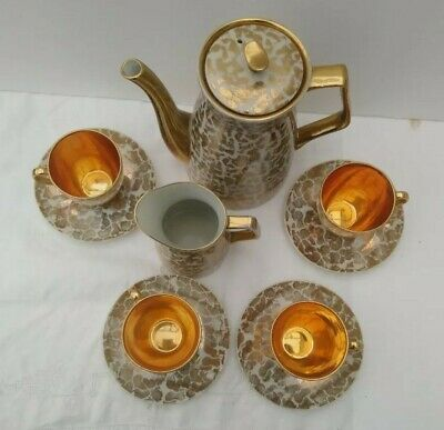 Expresso Coffee SET Duo Gold White Vintage Mid Century Demitasse Australian Gilt • 45£