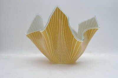 Huge Vintage Chance Glass Handkerchief Vase Corden Yellow Pinstripe Immaculate • 55£