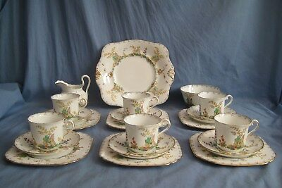 Tuscan China TEA SET FOR 6 - ART DECO - FINE CHINA - TAKE A LOOK  COTTAGE GARDEN • 49.99£