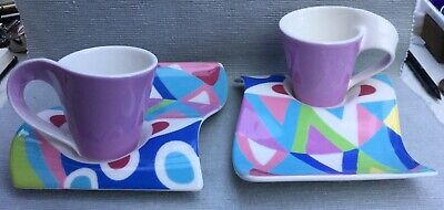 Two Very Funky Villeroy & Boch Fashionista Pattern Wave Cups & Saucers • 25£