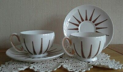 Vintage Merlin Ware Starlite, Art Deco, Brown Cup And Saucer • 12£