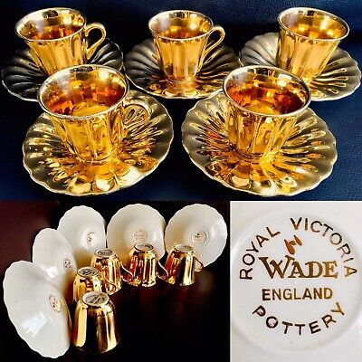 Set Of 5 Vintage (1950s) Wade Pottery 24ct Gold Plated Demitasse Cups & Saucers • 125£