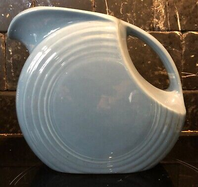 Fiesta USA Vintage Blue Disc Water Pitcher Jug Fiestaware 1938-1951 • 55£