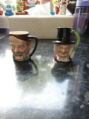 Miniature Ceramic WELSH LADY Toby Jug And Another Not Known • 10£