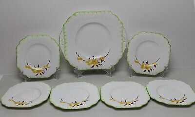Melba Hand Decorated  Art Deco Style Set Of 7 Plates    • 25.99£