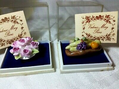 2 Rare Miniature China Items By Valerie May Peers - Flowers And Fruit • 14.95£