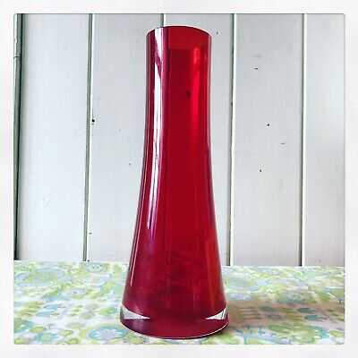 ✿ Ruby Red Riihimaki / Lasi Oy Finnish Tamara Aladin Glass Vase Pattern 1364  ✿ • 35£