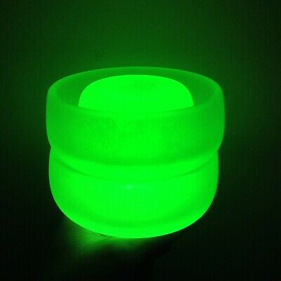 Vintage Art Deco Bagley Green Frosted Uranium Satin Glass Candle Posy Pots • 22.75£