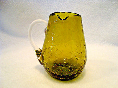 Hand Blown Green Crackle Glass Creamer With Applied Clear Handle. • 12.13£