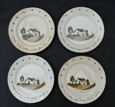Vintage St Marychurch Pottery - Plates (15.5cm) (Qty 4) - Motto Ware • 13.99£