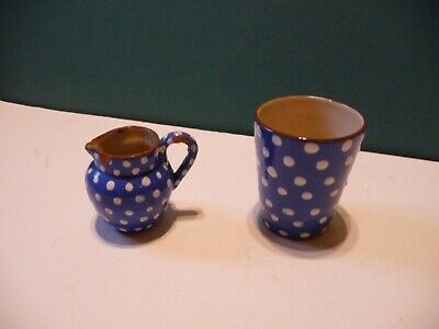 Devon Ware Blue With White Spots Small Jug And Tall Cup  • 4.99£