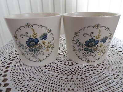 Purbeck Planters With Blue Floral Design (x2) • 8£