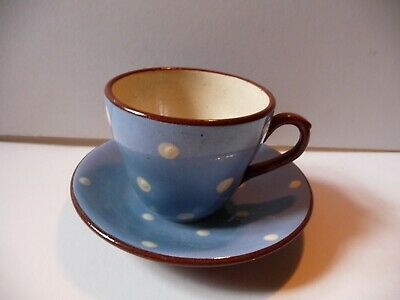 Devon Ware Babbacombe Blue And White Polka Dot Cup And Saucer • 9.99£