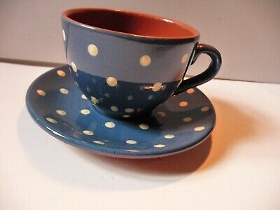 Devon Ware Torquay Blue With White Polka Dot Large Cup And Saucer • 10.99£