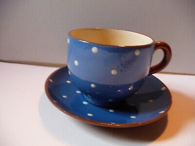 Devon Torquay Ware Watcombe Blue And White Polka Dot Cup And Saucer • 8.99£