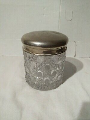 Vintage Glass Jar With Silver Type Lid • 5£