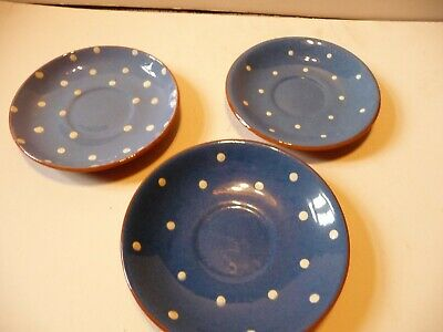 Devon Ware Dartmouth Blue Polka Dot 3 Saucers And 4 Side Plates • 11.99£