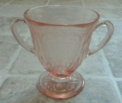 Pink Depression Glass Two Handle Sugar Bowl Footed  Bowknot  Belmont Co 1920s • 4.49£
