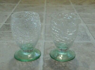 Vintage Crackle Glass Green Footed Drinking Glasses X2 • 4.99£