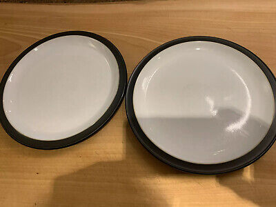 "2 X Denby Jet Black Large Dinner Plates 10.5"" Diameter Excellent Used Condition • 19.50£"