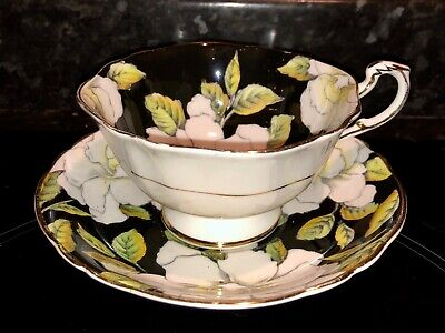 Vintage Paragon Double Warrant Cup And Saucer White Flowers On Black Background • 95£